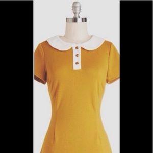 Mustard yellow modcloth shift dress